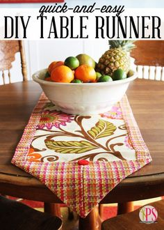 Quick-and-Easy DIY Table Runner... Wouldn't this be great in Fall colors for the Thanksgiving table? Says: Think a gorgeous new table runner is beyond the scope of your sewing skills? Think again! Today I'm going to show you how to stitch a table runner any home decorator would be proud of, and it only requires four lines of stitching and 15 minutes or so of time!