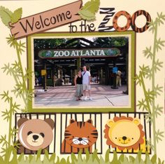 Zoo scrapbook layout using miss Kate cuttables and silhouette cameo