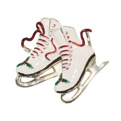 Ice Skates Christmas Pin.