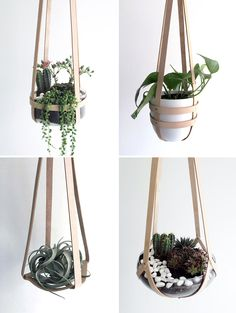 These sturdy modern hanging planters are made from thick, nude vegetable tanned leather, and silver rivets.