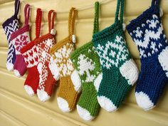 Mini Christmas Stocking Ornaments pattern by Little Cotton Rabbits. -Ravelry: Mini Christmas Stocking Ornaments pattern by Little Cotton Rabbits. - The holidays have already arrived, and there's nothing like knitting for them. Knitted Christmas Decorations, Knit Christmas Ornaments, Mini Christmas Stockings, Christmas Crafts, Stocking Ornaments, Crochet Christmas, Xmas, Holiday Decorations, Christmas Christmas