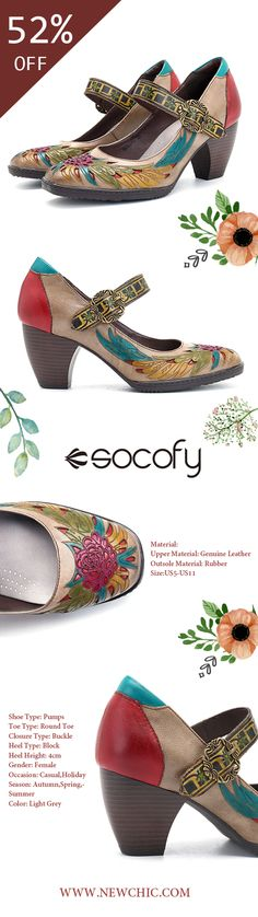 Socofy SOCOFY Printing Hollow Out Pattern Mid Heel Buckle Ankle Leather Pumps is well-designed. NewChic offers a wide range of cheap pumps shoes for women, like black pumps, white pumps, etc. Buy Shoes, Me Too Shoes, Women's Shoes, Cheap Womens Shoes, Shoes Women, Girls Football Boots, White Pumps, Spike Heels, Sandals For Sale