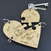 Personalised Best Friend Jigsaw Piece Keyring Heart Set Unique Gift Friends Lot