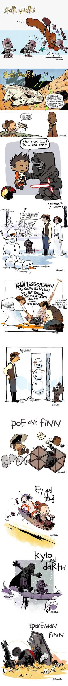 Calvin & Hobbes style Star Wars: The Force Awakens - love this Calvin and Hobbes/Star Wars crossover! Calvin Und Hobbes, Star Wars Art, Star Trek, Tableau Star Wars, Stormtrooper, Arte Nerd, Star Wars Personajes, Chef D Oeuvre, The Force Is Strong