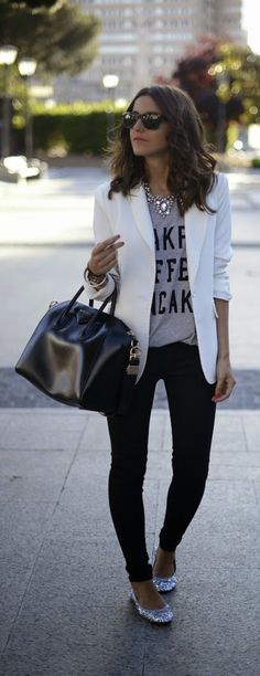 Stlye Me Hip: White Chic Blazer with Grey Print tee , Skinnies J...