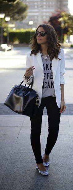 White Chic Blazer with Grey Print tee, Skinnies Je...