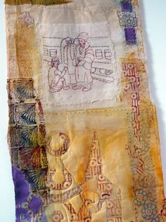Cas Holmes's mixed media workshop uses paper, textile, print, dye and stitch to create pieces based on the land and landscape. Cas Holmes, Textiles Sketchbook, Cyanotype, Fibre Art, Mini Quilts, Textile Artists, Big Cats, Alabama, Moroccan