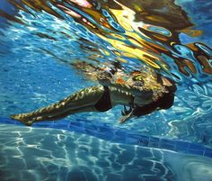 Eric Zener has been painting for over 25 years. He is best known for his paintings with water as a primary element. Water has been the source of a variety. Eric Zener, Backyard Trampoline, Underwater Painting, O Gas, Realistic Paintings, Awesome Paintings, Photorealism, Pictures To Paint, Art Design