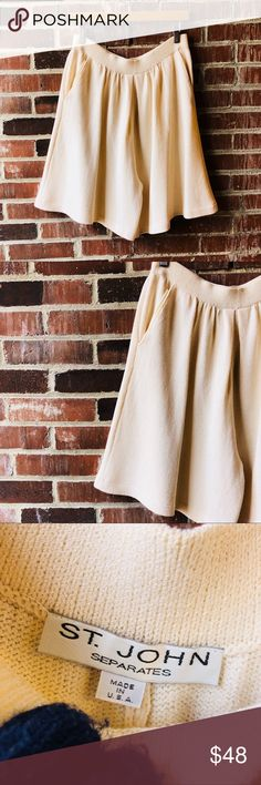 "ST. JOHN SEPERATES Cream Knit Short ST. JOHN SEPERATES Cream Knit Short with a pleated front. Size 10. Waist 30"" Hip 48"" Length 21"". Great condition. No flaws. St. John Shorts"