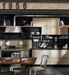 For an industrial kitchen style we will focus on raw functional colors like gray, black and metallic finishes. Industrial style is mainly depicted by accessories, so you don't want to flood the kitchen with too much color on the walls. For a contemporary and timeless industrial look you should choose white and add touches of gray or black to create contrasting points — think chalkboard paint.