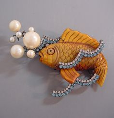 VRBA fish waves and bubbles brooch with artificial pearls and blue and clear rhinestone waves