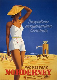 Always a wonderful new experience. Nordseebad Norderney. Immer wieder ein neues herrliches erlebnis. This reproduction of a vintage German travel poster shows a young woman standing in front of a beach full of cabanas in Norderney, one of the populated islands off of the North Sea coast of Germany. Illustrated by Willy Hanke, circa 1930.