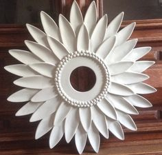 Pink Flower Decor Sunflower Ceiling Medallion Home and Flower Ceiling, Ceiling Rose, White Ceiling, Style At Home, Nautical Nursery Decor, Nursery Ideas, Star Ceiling, Ceiling Tiles, White Nursery