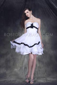 Bustier en coeur jupe à volant robe de cocktail en organza [#ROBE201724] - robedumariage.com