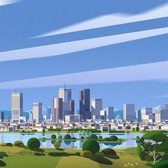 Background development , Hornet Inc City Skyline Art, City Art, Seattle Skyline, Film D'animation, City Illustration, Animation Reference, Illustrations And Posters, Design City, Travel Posters