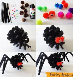 araas con pias de pino Arañas con piñas de pino para Halloween