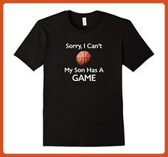 Mens Sorry I Can't My Son Has A Game Basketball Tshirt Large Black - Relatives and family shirts (*Partner-Link)