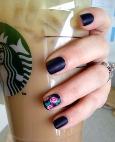 Matte navy nails with floral accent nail... My first attempt!