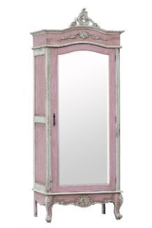 Delicieux French Style Isabella Pink U0026 White Mirrored Armoire