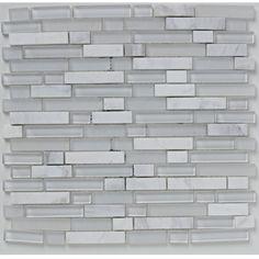 Bayswater Mosaic White Linear Glass/Stone 305X305 | bathstore