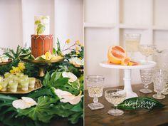 Tropical Leaves and Sea Glass Wedding Shoot ⋆ Ruffled Tropical Wedding Decor, Palm Beach Wedding, Beach Weddings, Wedding Shoot, Diy Wedding, Wedding Day, Wedding Desserts, Wedding Decorations, Table Decorations