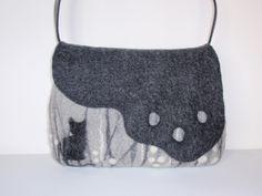 """Schultertaschen - Gefilzte Tasche """"Katzengrau"""" - ein Designerstück von tido234 bei DaWanda"""