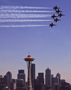 Blue angels over Seattle. Yep, just saw this, from the Space Needle on August 2nd. Amazing!