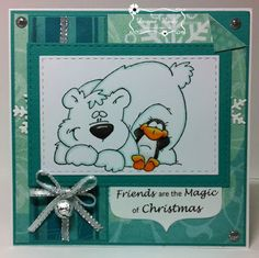 """ONECRAZYSTAMPER.COM: July Challenge -- """"Christmas in July"""" by Donna using High Hopes Rubber Stamps """"South Pole Pals"""" (R147)"""