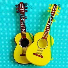 24 STAND UP Edible Cup Cake Toppers Wooden Guitars Rice Paper