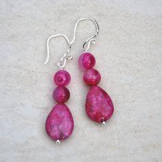 Pink jasper earrings, pink agate earrings, pink teardrop earrings, sterling silver earrings, crazy lace earrings, boho earrings, round agate by KarmaKittyJewelry on Etsy
