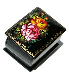 Russian handmade floral wooden souvenir box features orange rose bouquet hand painted on the top. Available in very limited quantities. Shop today.