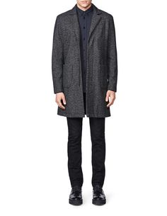 Le bon coat-Men's coat in wool-blend. Features concealed zip fastening and press buttons at placket. Patch pockets and single back slit. Fully lined. Above-knee length. Tiger Of Sweden, Men's Outerwear, Men Style Tips, Mens Fashion, Fashion Tips, Wool Blend, Winter Jackets, Buttons, Slim