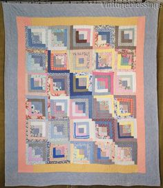 """c1930s WOnderful feedsack prints and a soft blue makes this one a stand out. It is hand quilted at 6-7 stitches per inch. Medium weight. It is hand bound. Measures 81"""" x 68"""" Freshly hand laundered. Very good condition with a little faint, fading on the striped blue and off white borders, one small seam opening, a lentil size spot on one border, and on the back there are a few darker spots/marks, and some very light tanning. (See photos.   eBay!"""