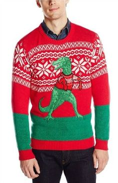 Blizzard Bay Men's Trex Hates Sweater Ugly Christmas Sweater, Red/Green/White, Medium (Color: Arms Too Short T-rex, Tamaño: Medium) Red Sweaters, Cardigans, Holiday Sweaters, Best Ugly Christmas Sweater, Christmas Gifts, Christmas Ideas, Christmas Bingo, Christmas Outfits, Christmas Time