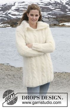 Free knitting patterns and crochet patterns by DROPS Design Knit Cardigan Pattern, Sweater Knitting Patterns, Knit Patterns, Free Knitting, Drops Design, How To Purl Knit, Pulls, Sweaters For Women, Clothes For Women
