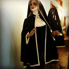 Latex Nun here in Black & White showing how dramatically the look changes simply be reversing the outfit. Very practical!