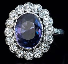 1920s 5 Carat Plum Sapphire Diamond Platinum Engagement Ring | From a unique collection of vintage engagement rings at https://www.1stdibs.com/jewelry/rings/engagement-rings/