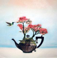 birthday card  Azalea teapot flowers square by KatkasArtStudio