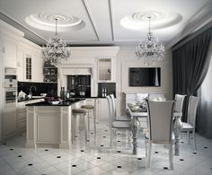 Art Deco kitchen ideas impress with unsurpassed beauty and chic. Art Deco style is a combination of traditional neoclassicism and innovative Art Nouveau. Art Deco Kitchen, Home Decor Kitchen, Kitchen Interior, Home Interior Design, Interior Decorating, Decorating Ideas, Kitchen Ideas, Elegant Kitchens, Luxury Kitchens