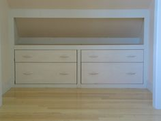 Bulk storage below the eaves even eliminates the need for stand-alone dresser