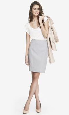 HIGH WAIST SEAMED PENCIL SKIRT - GRAY from EXPRESS