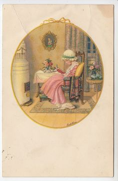 Pauli Ebner: Girl Reads Book, Cat by Side, Nice Interior View/Stove - PC (1813)