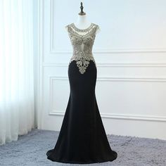 2018 Prom Dresses Long Black Evening Dresses Gold Lace Dress