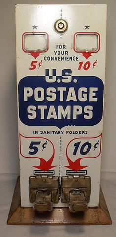 1960s Vintage U.S. Postage Stamp Vending Machine - Dispensador de sellos