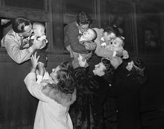 Drafted men saying goodbye to their families, 1943.