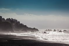 Harris Beach State Park, Brookings, Oregon as the fog rolls in and mist forms along the cliffs and rocks.