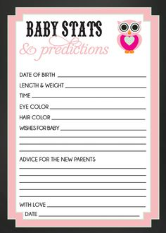 BABY STATS and PREDICTIONS baby shower game owl by SLDESIGNTEAM