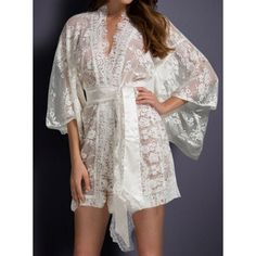 Sexy Plunging Neck 3/4 Sleeve Pure Color See-Through Women's Sleepwear http://www.nastydress.com/pg/76924.html