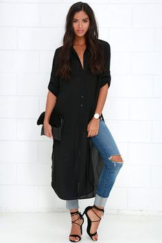We'd jump through hoops for the Tall Timber Black Button-Up Maxi Top, but luckily, it got sent straight to our doorstep! Textured Georgette fabric forms a collared neckline and long sleeves, complete with button cuffs and button tabs. Billowy bodice (with twin patch pockets and full button placket) continues to a sweeping hemline finished with high side slits.