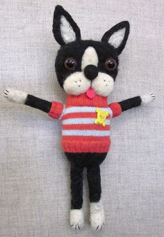 Boston Terrier doll I needle felted for the gallery show at work. His name is Rugby.